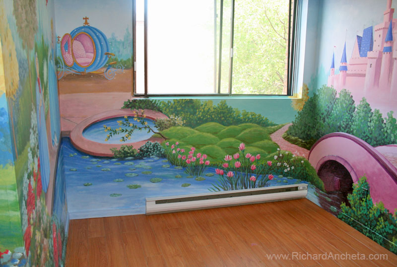 Children 39 s mural painting disney princesses montreal for Fairy castle mural