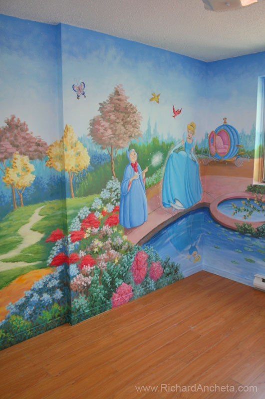 Children 39 s mural painting disney princesses montreal for Children s room mural