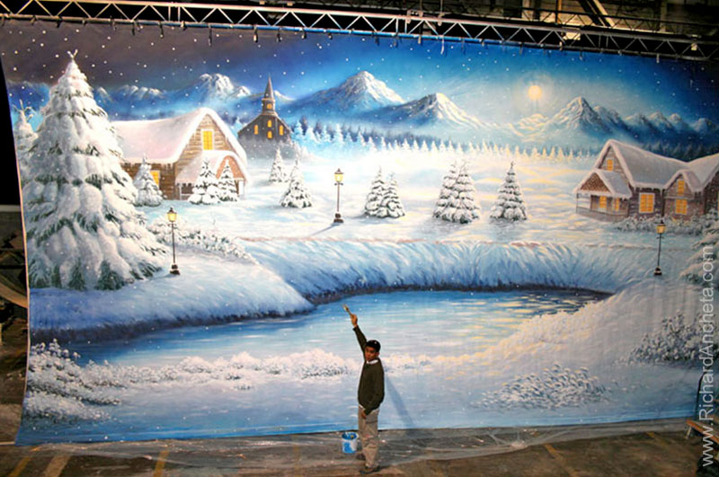 Richard Ancheta - backdrops airbrush painting with winter landscape moonlight of snowy county of mount tremblant - Montreal.