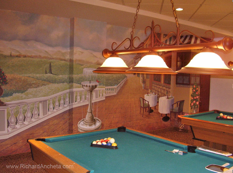 Pool And Billiard Mural Trompe L 39 Oeil Painting By Richard Ancheta
