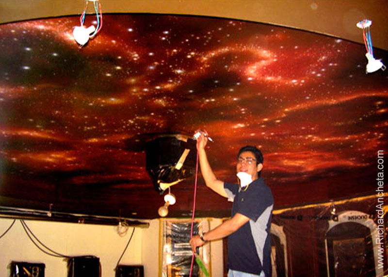Home Cinema Cosmic Ceiling Airbrush Painting Montreal by Richard Ancheta