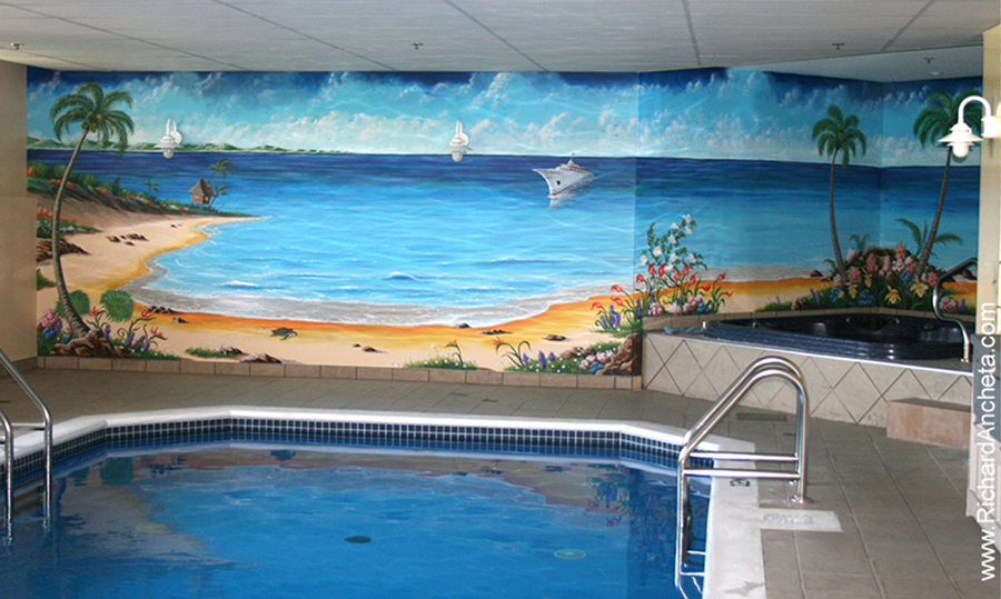 Swimming pool murals - oil painting by Richard Ancheta - Montreal