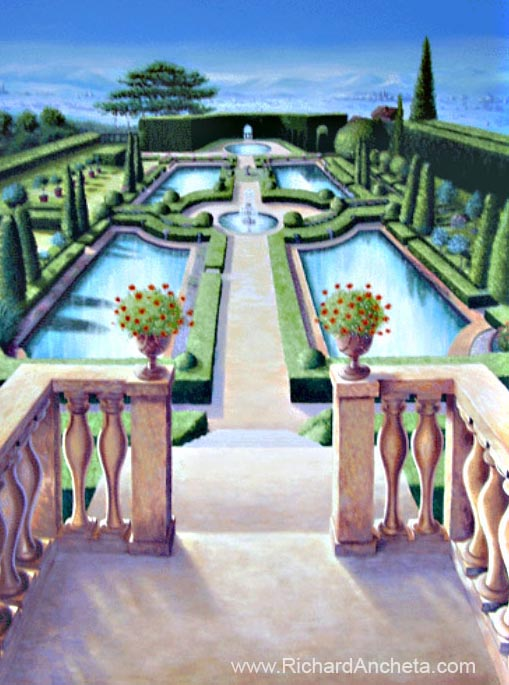 Tuscan Terraces and Italian Garden Mural Painting - Montreal