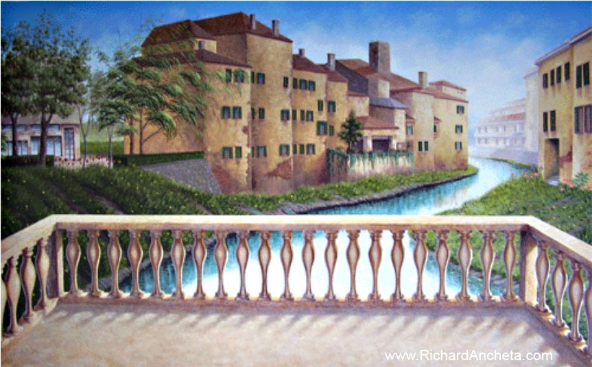 Tuscan Terraces and Italian Riverview Mural Painting - Montreal