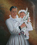 mother-baby oil portrait painting-montreal